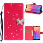Imprint Flower Butterfly Rhinestone Wallet Leather Case for Xiaomi Redmi 8A – Rose
