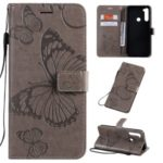 Imprint Butterfly Leather Wallet Stand Case for Xiaomi Redmi Note 8T – Grey