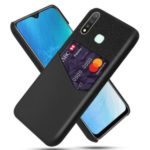 KSQ Cloth + PU Leather + PC Combo Back Case with Card Slot for Vivo Y19 – Black