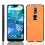 Leather Coated PC + TPU Hybrid Case for Nokia 7.1 – Yellow