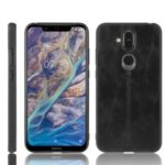 Leather Coated PC + TPU Hybrid Phone Shell Cover for Nokia 8.1 / X7 – Black
