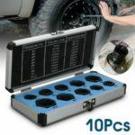 10PCS/Set Damaged Nut Bolt Remover Stud Extractor Set 9-19mm Broken Bolt Removal Kit