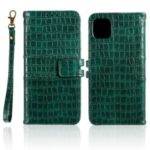 Crocodile Skin PU Leather Phone Cover Wallet with Strap for Apple iPhone 11 6.1 inch – Green
