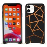 MUTURAL Drop-proof PC + TPU Combo Cover with Shoulder Strap for iPhone 11 6.1 inch – Black