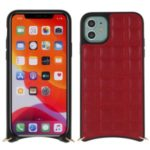 MUTURAL Square Surface PU Leather + PC + TPU Shell with Metal Strap for iPhone 11 6.1 inch – Red