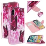 Pattern Printing Cross Texture Leather Wallet Case for iPhone XS Max 6.5 inch – Butterflies