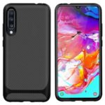 Anti-slip Texture Anti-drop TPU Phone Case for Samsung Galaxy A70 – Black
