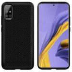 Anti-slip Carbon Fiber Texture Anti-drop TPU Mobile Case for Samsung Galaxy A71 – Black