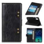 Rivet Decorated Leather Covering for Samsung Galaxy A01 – Black