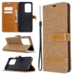 Assorted Color Jeans Cloth Leather Wallet Case for Samsung Galaxy S20 Ultra / S11 Plus – Khaki