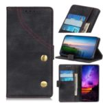 Jeans Cloth Leather Wallet Case for Samsung Galaxy A21 – Black