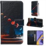 Pattern Printing PU Leather Wallet Phone Cover for Samsung Galaxy A51 – Planet
