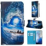 Pattern Printing Leather Wallet Case for Samsung Galaxy S20 / S11e – Wave