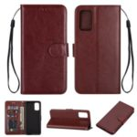 Crazy Horse Leather Shell Wallet Stand Cell Phone Case for Samsung Galaxy S20 Plus/S11 – Brown