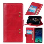 Rivet Decorated PU Leather Wallet Case for Samsung Galaxy A21 – Red