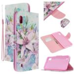 Pattern Printing Cross Texture Leather Wallet Case for Samsung Galaxy A10 – Vivid Flower