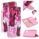 Pattern Printing Cross Texture Leather Wallet Stand Case for Samsung Galaxy A20e/A10e – Butterflies