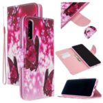 Cross Skin Printing Leather Wallet Case for Samsung Galaxy A50/A50s/A30s – Red Butterflies