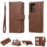 Magnetic Detachable 2-in-1 Zipper Wallet Stand Leather Case for Samsung Galaxy S20 Ultra – Brown