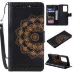 Imprint Malanda Flower PU Leather Wallet Stand Phone Case for Samsung Galaxy S20 Ultra – Black