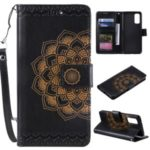 Imprint Malanda Flower PU Leather Wallet Stand Phone Shell for Samsung Galaxy S20 – Black