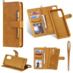 Shockproof Detachable 2-in-1 Retro Leather Wallet Case for Samsung Galaxy S20 – Light Brown