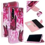 Pattern Printing Cross Texture Leather Wallet Stand Case for Huawei P30 – Butterflies