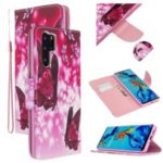 Pattern Printing Cross Texture Leather Wallet Case for Huawei P30 Pro – Butterflies