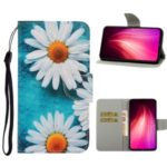 Pattern Printing Flip Leather Wallet Phone Cover Case for Xiaomi Redmi Note 8T – White Flower