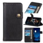 Single Brass Button Litchi Surface Leather Casing for Xiaomi Redmi K30/K30 5G – Black