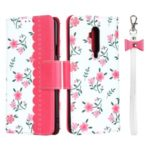 Pattern Printing PU Leather Wallet Phone Case with Strap for OnePlus 7T Pro – Rose