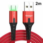 ESSAGER Type-C 3A Fast Charging Data Cable with LED Indicator Nylon Braided Cord 2m – Red