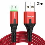 ESSAGER Micro USB to USB Nylon Braided Data Sync Charging Cord with LED Indicator 2m – Red