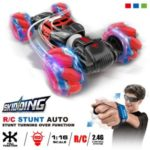 RC Stunt Car 4WD Watch Gesture Sensor Control Deformable Electric Car All-Terrain Transformable for Kids with LED Light Music – Red