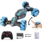 2.4GHz 4WD RC Stunt Car Off Road Deformable All-Terrain Double-Sided Car with Gesture Sensor Watch Lights Music Kids Toy – Blue