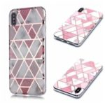 Marble Pattern Rose Gold Electroplating IMD TPU Back Case for iPhone XS/X 5.8 inch – White / Pink