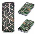 Marble Pattern Rose Gold Electroplating IMD TPU Case for iPhone XR 6.1 inch – Green
