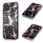 Marble Pattern Rose Gold Electroplating IMD TPU Case Shell for iPhone 11 6.1 inch – Black