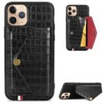 Crocodile Texture Leather Coated TPU Phone Case with Card Holder Kickstand for iPhone 11 Pro 5.8 inch – Black