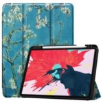 Pattern Printing Tri-fold Stand Leather Special Case for iPad Pro 11-inch (2020) – Peach Blossom