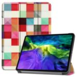 Printing Surface Tri-fold Stand Leather Smart Case for iPad Pro 11-inch (2020) – Colorful Squares