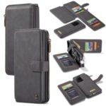 CASEME 007 Series Detachable 2-in-1 Zipper Wallet Split Leather Case for Samsung Galaxy S20 Ultra – Black