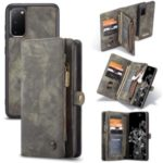 CASEME 008 Series 2-in-1 Multi-slot Wallet Retro Split Leather Phone Cover for Samsung Galaxy S20 – Grey