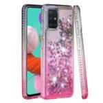 Rhinestone Decor Gradient Glitter Powder Quicksand TPU Cell Phone Cover for Samsung Galaxy A51 – Black/Red