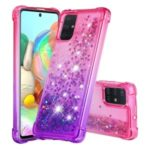 Gradient Glitter Powder Quicksand TPU Cell Phone Case for Samsung Galaxy A71 – Rose/Purple