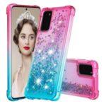 Gradient Glitter Powder Quicksand TPU Case for Samsung Galaxy S20 – Rose / Baby Blue