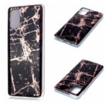 Marble Pattern Rose Gold Electroplating IMD TPU Back Case for Samsung Galaxy A71 – Black