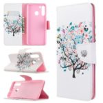 Pattern Printing Wallet Leather Flip Phone Cover for Samsung Galaxy A21 – Colorized Tree
