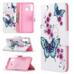 Pattern Printing Wallet Stand Flip Leather Phone Case for Samsung Galaxy A21 – Flowers and Butterflies