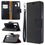 Litchi Texture Wallet Stand Leather Cover with Strap for Samsung Galaxy A21 – Black